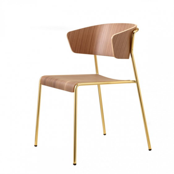 Lisa wood armchair messing/valnød